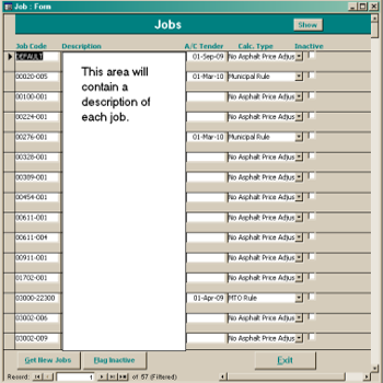 A screenshot of the ACPIR Jobs control tool.