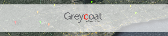 The Greycoat Software Logo overlayed on a cropped map image of southwestern ontario