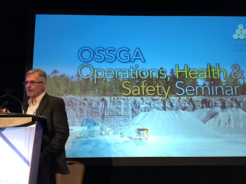 "Henry Slofstra presenting at OSSGA's ""Operations, health and safety seminar""."