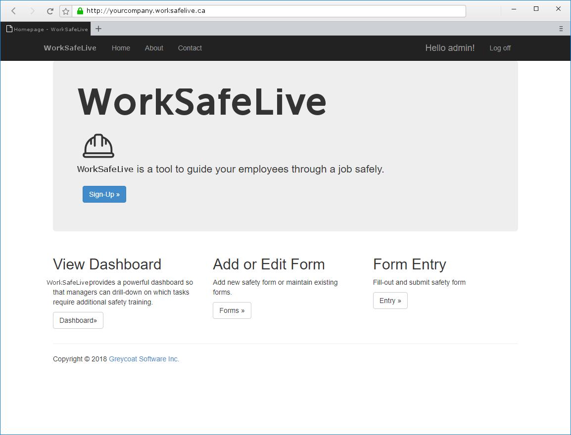 WorkSafeLive - Administrators Landing Page