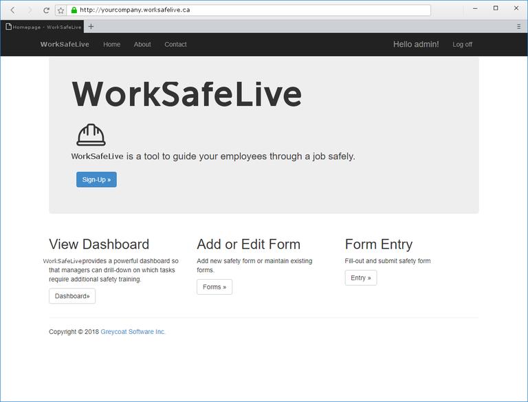WorkSafeLive - AdminLanding