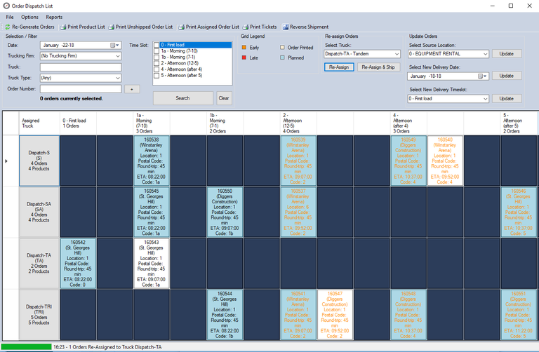 A cropped screen shot of the Order Dispatch Tool from Order Management Module of the Compass Software Suite